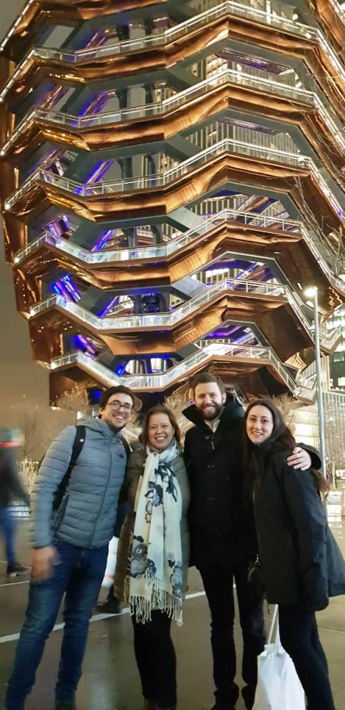 Ronny Max with  Nicolas Guiloff and  Denise Cornejo from Chile and Franco from Peru in front of the Verve in Hudson Yards (Source Alex Jacoby)